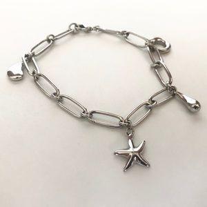 Silver Chain Starfish Sea Ocean Charm Bracelet